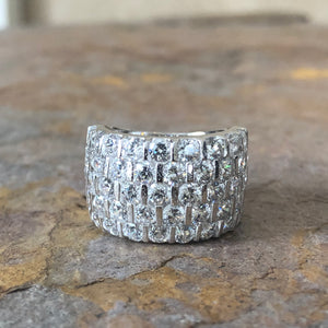 Sterling Silver CZ Staggered Channel Cigar Band Ring, Sterling Silver CZ Staggered Channel Cigar Band Ring - Legacy Saint Jewelry