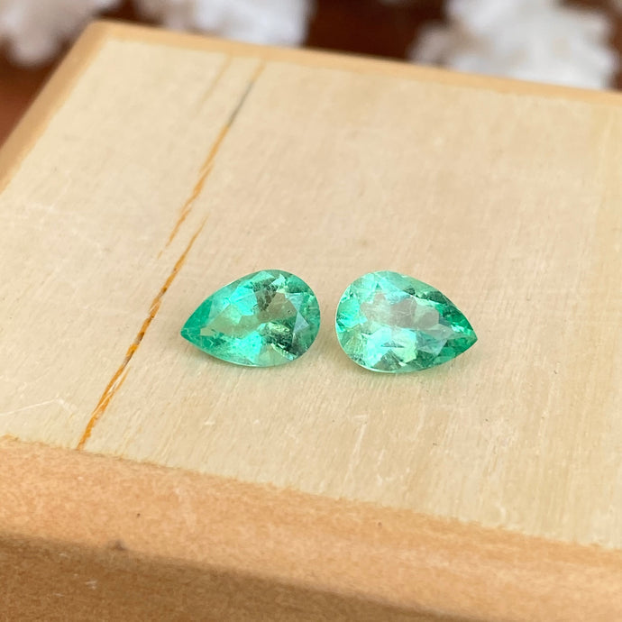 Colombian Emerald Cut Pear Shape Loose Emerald Pair 1.22 CT, Colombian Emerald Cut Pear Shape Loose Emerald Pair 1.22 CT - Legacy Saint Jewelry