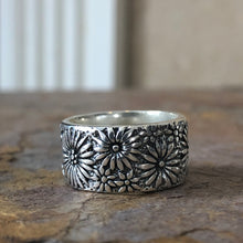 Load image into Gallery viewer, Sterling Silver Floral Cigar Band Ring, Sterling Silver Floral Cigar Band Ring - Legacy Saint Jewelry