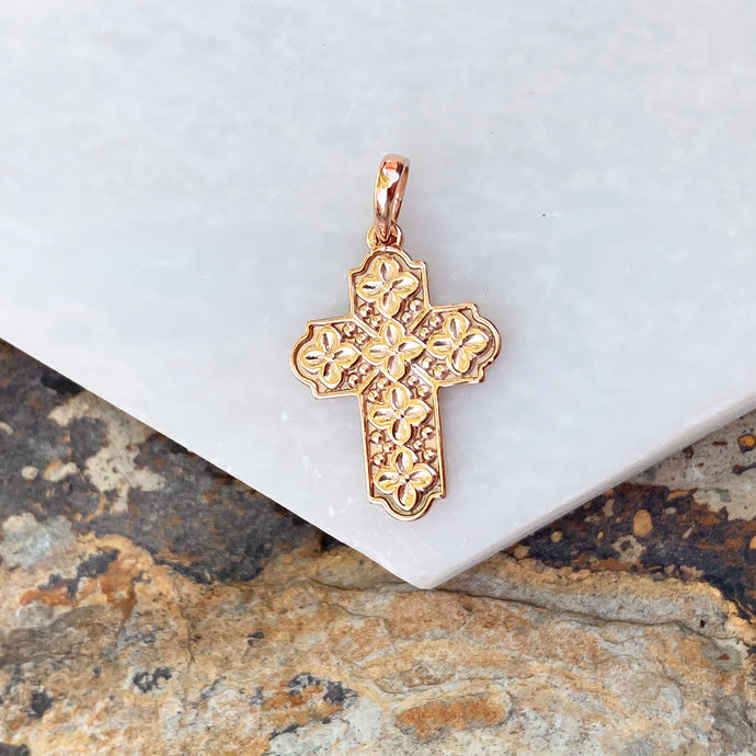 14KT Rose Gold Floral Raised Patterned Cross Pendant, 14KT Rose Gold Floral Raised Patterned Cross Pendant - Legacy Saint Jewelry