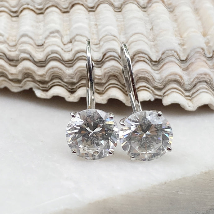 14KT White Gold Round CZ Stone Lever Back Earrings 7.5mm, 14KT White Gold Round CZ Stone Lever Back Earrings 7.5mm - Legacy Saint Jewelry