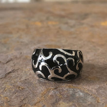 Load image into Gallery viewer, Sterling Silver + Black Enamel Dome Design Ring, Sterling Silver + Black Enamel Dome Design Ring - Legacy Saint Jewelry