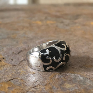 Sterling Silver + Black Enamel Dome Design Ring, Sterling Silver + Black Enamel Dome Design Ring - Legacy Saint Jewelry