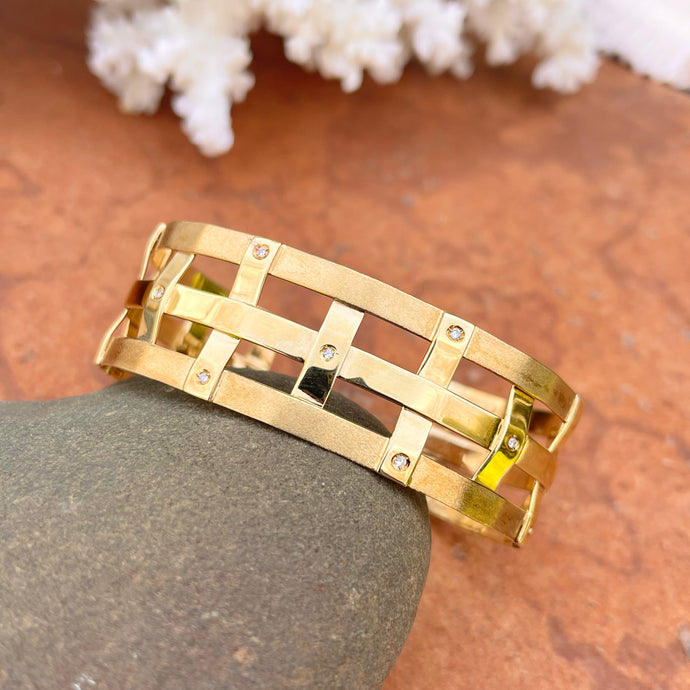 Estate 14KT Yellow Gold Matte Mid Century Scattered Diamond Cuff Bracelet