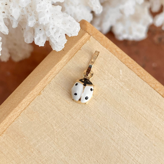 14KT Yellow Gold White Mini Ladybug Pendant Charm