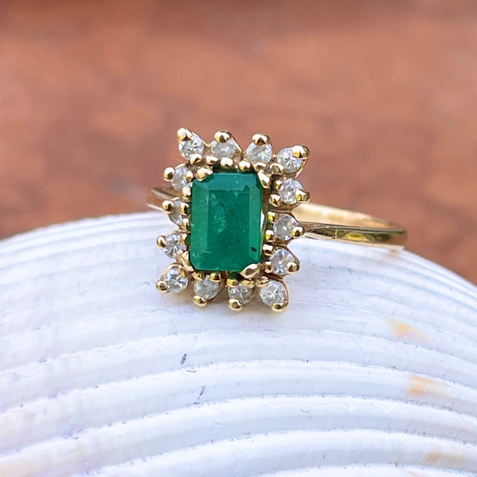 Estate 14KT Yellow Gold Emerald-Cut 1.20 CT Emerald + Diamond Halo Ring