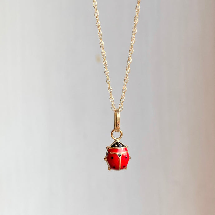 14KT Yellow Gold Mini Red Ladybug Pendant Necklace
