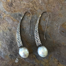 Load image into Gallery viewer, Sterling Silver + Paspaley South Sea Pearl Textured Earrings, Sterling Silver + Paspaley South Sea Pearl Textured Earrings - Legacy Saint Jewelry