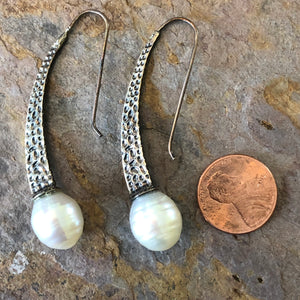 Sterling Silver + Paspaley South Sea Pearl Textured Earrings, Sterling Silver + Paspaley South Sea Pearl Textured Earrings - Legacy Saint Jewelry