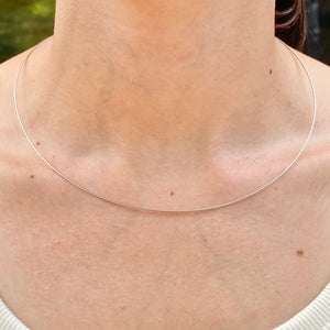 14KT White Gold Thin Neck Wire Weave Chain Omega Necklace .50mm, 14KT White Gold Thin Neck Wire Weave Chain Omega Necklace .50mm - Legacy Saint Jewelry
