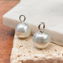 Load image into Gallery viewer, 14KT White Gold Paspaley South Sea Pearl Round Earrings Charms 12mm/ FINE, 14KT White Gold Paspaley South Sea Pearl Round Earrings Charms 12mm/ FINE - Legacy Saint Jewelry