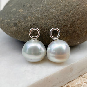 14KT White Gold Paspaley South Sea Pearl Round Earrings Charms 12mm/ FINE, 14KT White Gold Paspaley South Sea Pearl Round Earrings Charms 12mm/ FINE - Legacy Saint Jewelry