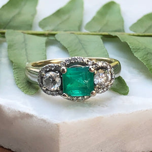 Estate 14KT White Gold Emerald + Diamond 3 Stone Halo Ring, Estate 14KT White Gold Emerald + Diamond 3 Stone Halo Ring - Legacy Saint Jewelry