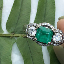Load image into Gallery viewer, Estate 14KT White Gold Emerald + Diamond 3 Stone Halo Ring, Estate 14KT White Gold Emerald + Diamond 3 Stone Halo Ring - Legacy Saint Jewelry