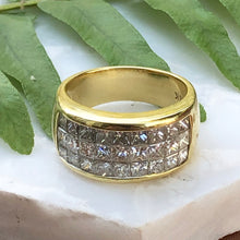 Load image into Gallery viewer, Estate 18KT Yellow Gold 3-Row Princess Cut Diamond Cigar Band Ring, Estate 18KT Yellow Gold 3-Row Princess Cut Diamond Cigar Band Ring - Legacy Saint Jewelry