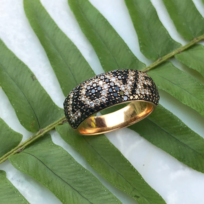 Estate 14KT Rose Gold Pave Black + White Diamond