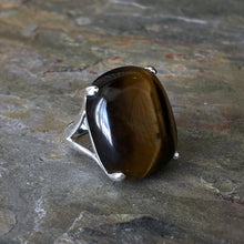 Load image into Gallery viewer, Sterling Silver + Large Tigereye Ring Size 8, Sterling Silver + Large Tigereye Ring Size 8 - Legacy Saint Jewelry