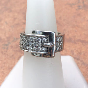 Estate 14KT White Gold + Pave Diamond Belt Buckle Cigar Band Ring, Estate 14KT White Gold + Pave Diamond Belt Buckle Cigar Band Ring - Legacy Saint Jewelry