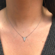 Load image into Gallery viewer, 14KT White Gold Diamond Triangle Necklace, 14KT White Gold Diamond Triangle Necklace - Legacy Saint Jewelry
