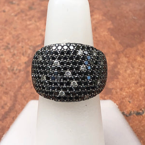 Estate 14KT White Gold 3.0 CT Pave Scattered Black + White Diamond Cigar Band Ring - Legacy Saint Jewelry