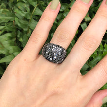 Load image into Gallery viewer, Estate 14KT White Gold 3.0 CT Pave Scattered Black + White Diamond Cigar Band Ring - Legacy Saint Jewelry