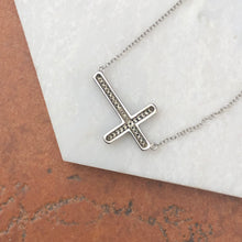 Load image into Gallery viewer, 14KT White Gold Sideways Blue + White Diamond Cross Necklace, 14KT White Gold Sideways Blue + White Diamond Cross Necklace - Legacy Saint Jewelry
