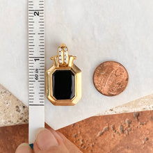 Load image into Gallery viewer, Estate 10KT Yellow Gold Black Onyx + Diamond Omega Enhancer Slide Pendant, Estate 10KT Yellow Gold Black Onyx + Diamond Omega Enhancer Slide Pendant - Legacy Saint Jewelry