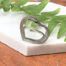 Load image into Gallery viewer, 14KT White Gold Diamond Open Heart Ring, 14KT White Gold Diamond Open Heart Ring - Legacy Saint Jewelry