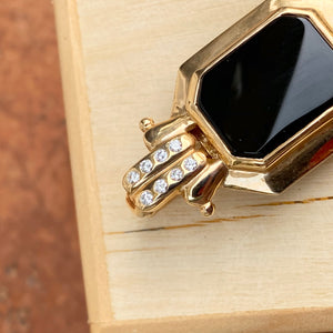 Estate 10KT Yellow Gold Black Onyx + Diamond Omega Enhancer Slide Pendant, Estate 10KT Yellow Gold Black Onyx + Diamond Omega Enhancer Slide Pendant - Legacy Saint Jewelry