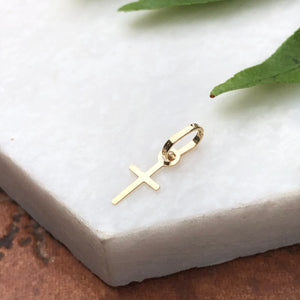 14KT Yellow Gold Tiny Baby Sized Cross Pendant Charm 11mm, 14KT Yellow Gold Tiny Baby Sized Cross Pendant Charm 11mm - Legacy Saint Jewelry