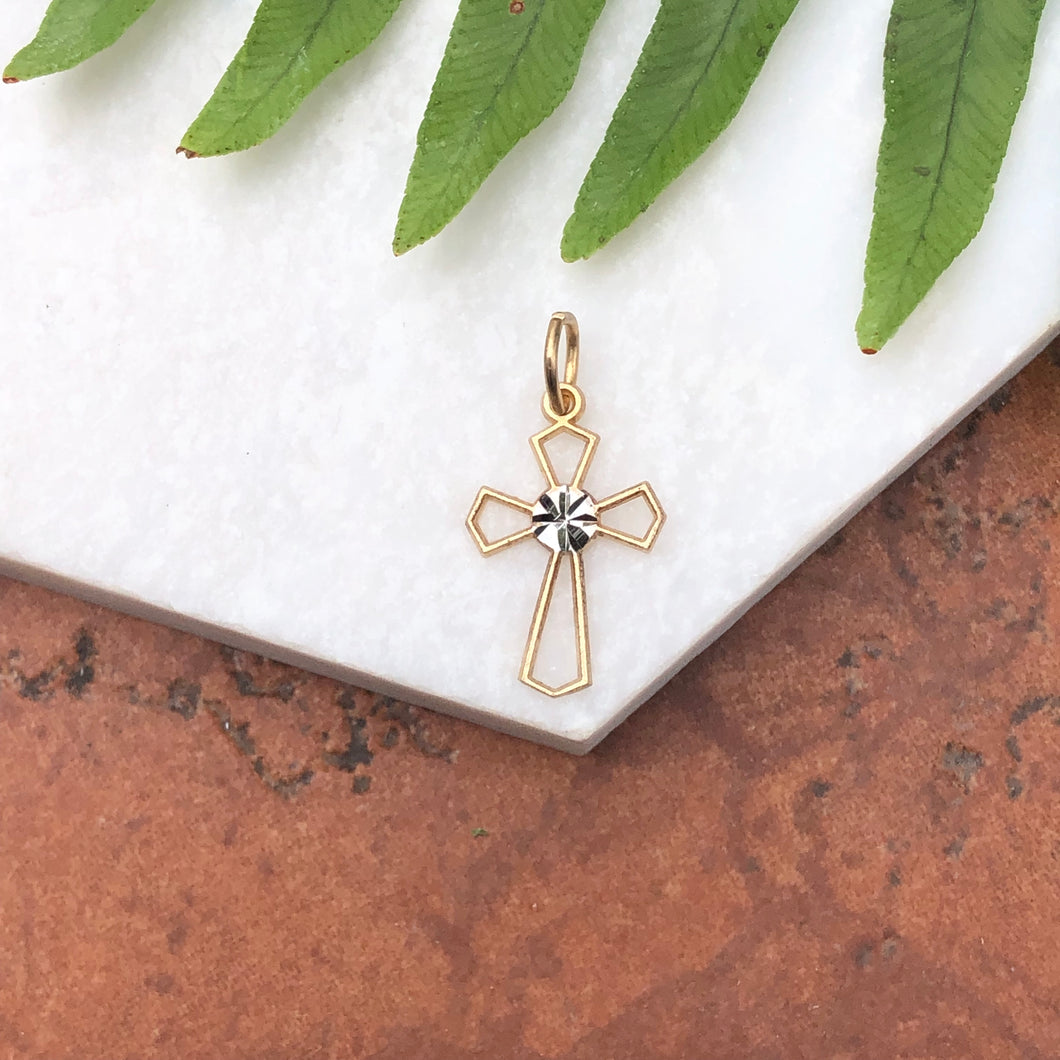 10KT Yellow Gold + White Gold Cross Diamond-Cut Charm Pendant, 10KT Yellow Gold + White Gold Cross Diamond-Cut Charm Pendant - Legacy Saint Jewelry