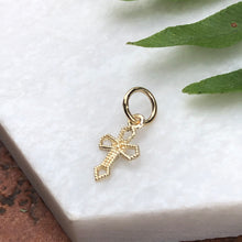 Load image into Gallery viewer, 10KT Tiny Yellow Gold Textured Cross Charm Pendant, 10KT Tiny Yellow Gold Textured Cross Charm Pendant - Legacy Saint Jewelry