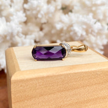 Load image into Gallery viewer, Estate 14KT Yellow Gold Amethyst + Diamond Omega Enhancer Slide Pendant - Legacy Saint Jewelry