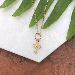 10KT Tiny Yellow Gold Textured Cross Charm Pendant, 10KT Tiny Yellow Gold Textured Cross Charm Pendant - Legacy Saint Jewelry