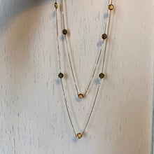 "Load image into Gallery viewer, 14KT Yellow Gold Citrine + Smokey Quartz Gemstones Chain Link Necklace 40"", 14KT Yellow Gold Citrine + Smokey Quartz Gemstones Chain Link Necklace 40"" - Legacy Saint Jewelry"