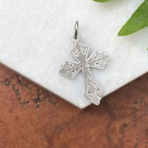10KT White Gold Diamond-Cut Detailed Cross Charm Pendant, 10KT White Gold Diamond-Cut Detailed Cross Charm Pendant - Legacy Saint Jewelry