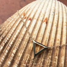 Load image into Gallery viewer, 14KT Yellow Gold Triangle Bar Lariat Necklace, 14KT Yellow Gold Triangle Bar Lariat Necklace - Legacy Saint Jewelry