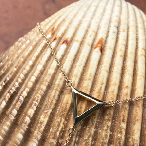 14KT Yellow Gold Triangle Bar Lariat Necklace, 14KT Yellow Gold Triangle Bar Lariat Necklace - Legacy Saint Jewelry