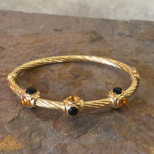 Load image into Gallery viewer, Estate 14KT Yellow Gold Faceted Onyx + Citrine Bezeled Gemstone Bangle Bracelet, Estate 14KT Yellow Gold Faceted Onyx + Citrine Bezeled Gemstone Bangle Bracelet - Legacy Saint Jewelry