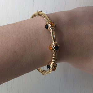Estate 14KT Yellow Gold Faceted Onyx + Citrine Bezeled Gemstone Bangle Bracelet, Estate 14KT Yellow Gold Faceted Onyx + Citrine Bezeled Gemstone Bangle Bracelet - Legacy Saint Jewelry