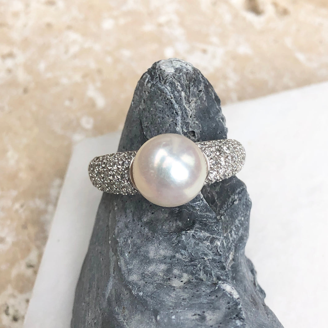 Estate 14KT White Gold Pave Diamond + Genuine Pearl Ring, Estate 14KT White Gold Pave Diamond + Genuine Pearl Ring - Legacy Saint Jewelry