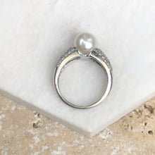 Load image into Gallery viewer, Estate 14KT White Gold Pave Diamond + Genuine Pearl Ring, Estate 14KT White Gold Pave Diamond + Genuine Pearl Ring - Legacy Saint Jewelry