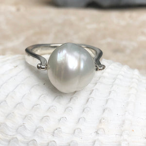 14KT White Gold + 12mm Paspaley South Sea Pearl Ring, 14KT White Gold + 12mm Paspaley South Sea Pearl Ring - Legacy Saint Jewelry