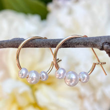 Load image into Gallery viewer, 14KT Yellow Gold Triple Freshwater Pearl Charm Hoop Earrings 15mm, 14KT Yellow Gold Triple Freshwater Pearl Charm Hoop Earrings 15mm - Legacy Saint Jewelry