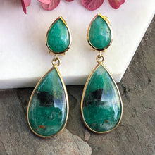 Load image into Gallery viewer, 18KT Yellow Gold Cabochon Teardrop Bezel-Set Colombian Emerald Earrings, 18KT Yellow Gold Cabochon Teardrop Bezel-Set Colombian Emerald Earrings - Legacy Saint Jewelry
