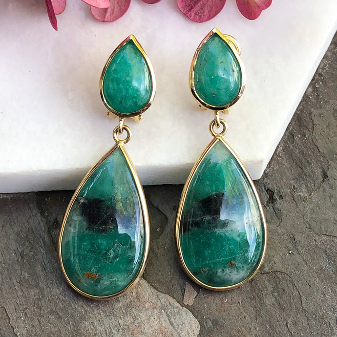 18KT Yellow Gold Cabochon Teardrop Bezel-Set Colombian Emerald Earrings, 18KT Yellow Gold Cabochon Teardrop Bezel-Set Colombian Emerald Earrings - Legacy Saint Jewelry