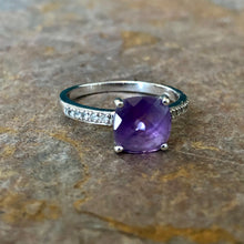 Load image into Gallery viewer, 14KT White Gold Pave Diamond + Genuine Purple Amethyst Estate Ring, 14KT White Gold Pave Diamond + Genuine Purple Amethyst Estate Ring - Legacy Saint Jewelry