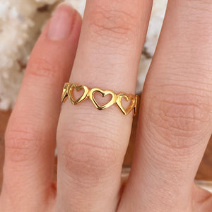 Gold Plated Sterling Silver Open Hearts Toe Ring
