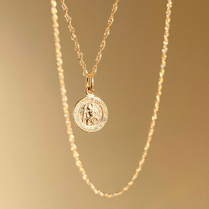 14KT Yellow Gold Saint Christopher Round Medal Pendant Necklace