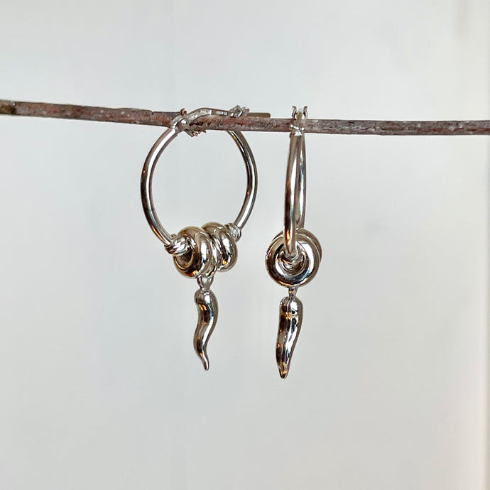 Sterling Silver Cornicello Italian Horn Charm Hoop Earrings